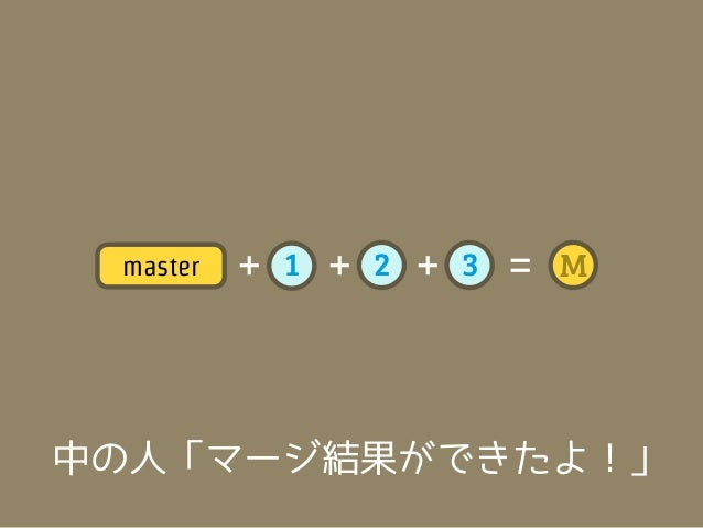 =       master    3   =        topic    2                         M    1                    中の人「そぉい!!」