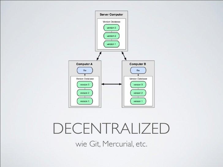 DECENTRALIZED   wie Git, Mercurial, etc.