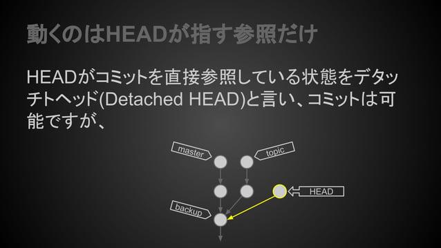 動くのはHEADが指す参照だけ HEADがコミットを直接参照している状態をデタッ チトヘッド(Detached HEAD)と言い、コミットは可 能ですが、 topicmaster backup HEAD
