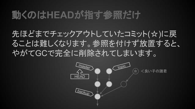 動くのはHEADが指す参照だけ 先ほどまでチェックアウトしていたコミット(☆)に戻 ることは難しくなります。参照を付けず放置すると、 やがてGCで完全に削除されてしまいます。 topicmaster HEAD backup ☆ <良い子の諸君