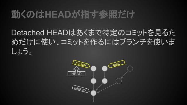 動くのはHEADが指す参照だけ Detached HEADはあくまで特定のコミットを見るた めだけに使い、コミットを作るにはブランチを使いま しょう。 topicmaster HEAD backup