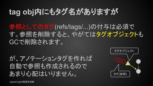 tag obj内にもタグ名がありますが 参照としてのタグ(refs/tags/...)の付与は必須で す。参照を削除すると、やがてはタグオブジェクトも GCで削除されます。 が、アノテーションタグを作れば 自動で参照も作成されるので あまり心配...