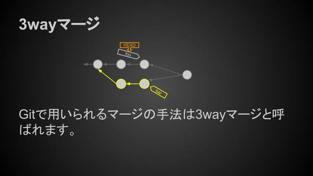 foo HEAD bar 3wayマージ Gitで用いられるマージの手法は3wayマージと呼 ばれます。