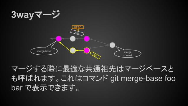 3wayマージ マージする際に最適な共通祖先はマージベースと も呼ばれます。これはコマンド git merge-base foo bar で表示できます。 merge-base foo HEAD bar merge commit