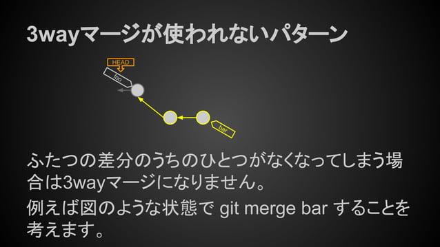 HEAD bar 3wayマージが使われないパターン ふたつの差分のうちのひとつがなくなってしまう場 合は3wayマージになりません。 例えば図のような状態で git merge bar することを 考えます。 foo