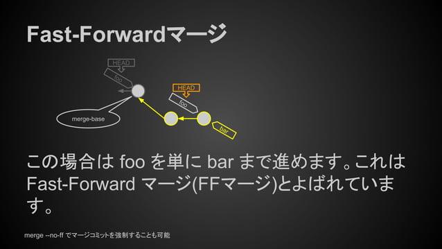 HEAD bar Fast-Forwardマージ この場合は foo を単に bar まで進めます。これは Fast-Forward マージ(FFマージ)とよばれていま す。 merge-base foo HEAD foo merge --no...