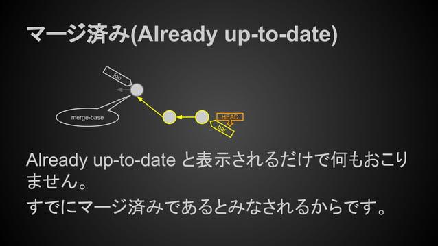 bar マージ済み(Already up-to-date) Already up-to-date と表示されるだけで何もおこり ません。 すでにマージ済みであるとみなされるからです。 merge-base HEAD foo