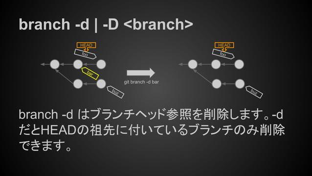 branch -d | -D <branch> branch -d はブランチヘッド参照を削除します。-d だとHEADの祖先に付いているブランチのみ削除 できます。 foo HEAD git branch -d bar foo HEAD ba...