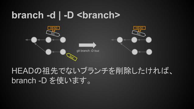 branch -d | -D <branch> HEADの祖先でないブランチを削除したければ、 branch -D を使います。 foo HEAD git branch -D buz foo HEAD buz