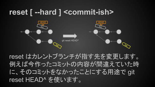 reset [ --hard ] <commit-ish> reset はカレントブランチが指す先を変更します。 例えば今作ったコミットの内容が間違えていた時 に、そのコミットをなかったことにする用途で git reset HEAD^ を使いま...