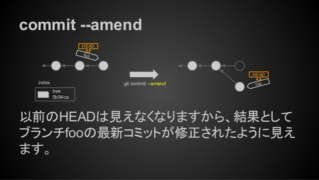 commit --amend foo HEAD git commit --amend tree 5b94ca index 以前のHEADは見えなくなりますから、結果として ブランチfooの最新コミットが修正されたように見え ます。 foo HE...