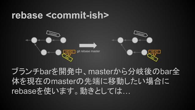 rebase <commit-ish> ブランチbarを開発中、masterから分岐後のbar全 体を現在のmasterの先端に移動したい場合に rebaseを使います。動きとしては… master HEAD git rebase master...