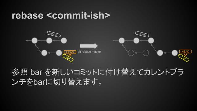 rebase <commit-ish> 参照 bar を新しいコミットに付け替えてカレントブラ ンチをbarに切り替えます。 master HEAD git rebase master bar master HEAD bar