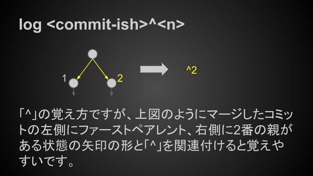 log <commit-ish>^<n> 「^」の覚え方ですが、上図のようにマージしたコミッ トの左側にファーストペアレント、右側に2番の親が ある状態の矢印の形と「^」を関連付けると覚えや すいです。 1 2 ^2