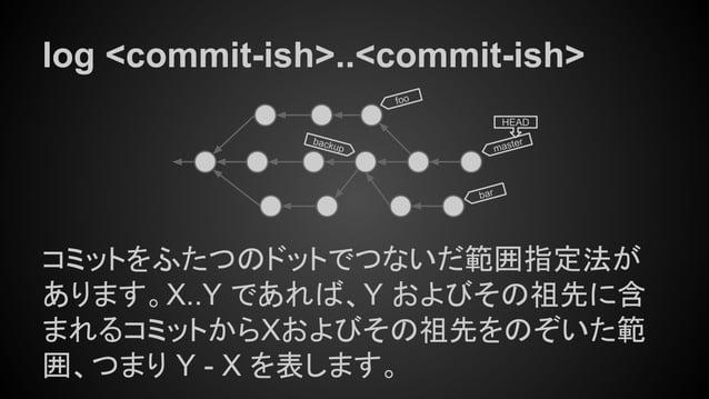 log <commit-ish>..<commit-ish> コミットをふたつのドットでつないだ範囲指定法が あります。X..Y であれば、Y およびその祖先に含 まれるコミットからXおよびその祖先をのぞいた範 囲、つまり Y - X を表しま...