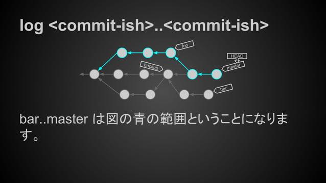 log <commit-ish>..<commit-ish> bar..master は図の青の範囲ということになりま す。 master HEAD bar foo backup