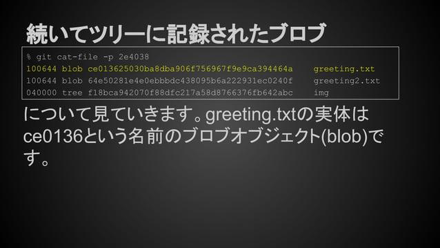 続いてツリーに記録されたブロブ % git cat-file -p 2e4038 100644 blob ce013625030ba8dba906f756967f9e9ca394464a greeting.txt 100644 blob 64e...
