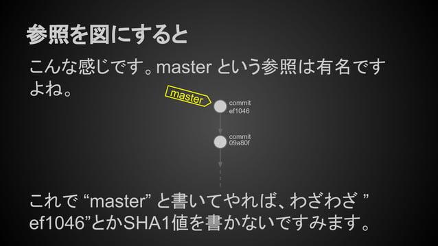 """こんな感じです。master という参照は有名です よね。 参照を図にすると ef1046 09a80f master これで """"master"""" と書いてやれば、わざわざ """" ef1046""""とかSHA1値を書かないですみます。 commit c..."""