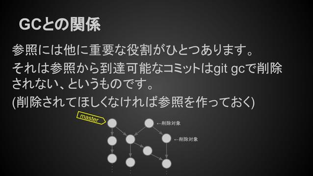 GCとの関係 参照には他に重要な役割がひとつあります。 それは参照から到達可能なコミットはgit gcで削除 されない、というものです。 (削除されてほしくなければ参照を作っておく) master ←削除対象 ←削除対象