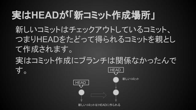 実はHEADが「新コミット作成場所」 新しいコミット HEAD HEAD 新しいコミットは HEADに作られる 新しいコミットはチェックアウトしているコミット、 つまりHEADをたどって得られるコミットを親とし て作成されます。 実はコミット作...