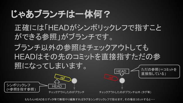 じゃあブランチは一体何? 正確には「HEADがシンボリックレフで指すこと ができる参照」がブランチです。 ブランチ以外の参照はチェックアウトしても HEADはその先のコミットを直接指すただの参 照になってしまいます。 ref HEAD ref ...