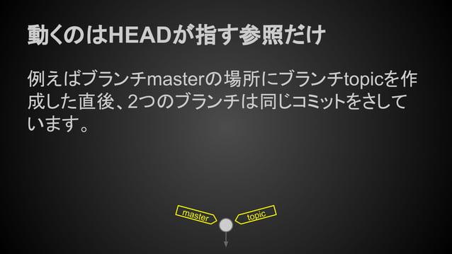 動くのはHEADが指す参照だけ 例えばブランチmasterの場所にブランチtopicを作 成した直後、2つのブランチは同じコミットをさして います。 master topic