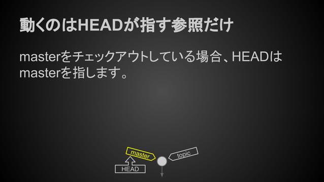 動くのはHEADが指す参照だけ masterをチェックアウトしている場合、HEADは masterを指します。 master HEAD topic