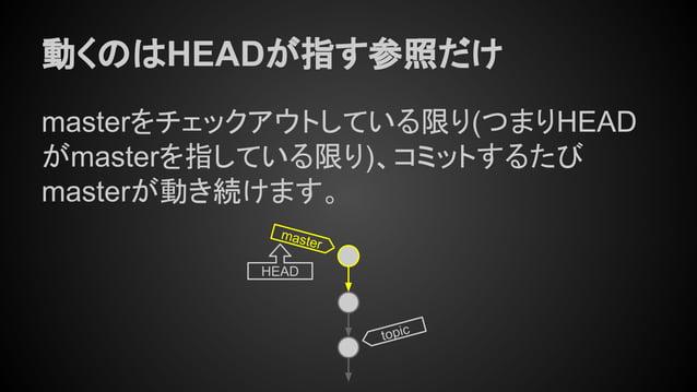 動くのはHEADが指す参照だけ masterをチェックアウトしている限り(つまりHEAD がmasterを指している限り)、コミットするたび masterが動き続けます。 master HEAD topic