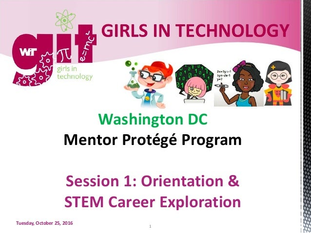 WashingtonDC MentorProtégéProgram Session1:Orientation& STEMCareerExploration Tuesday,October25,2016 1