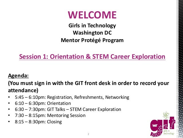 Girls in Technology DC - Session #1: STEM Career Exploration - 10/25/2016 Slide 2