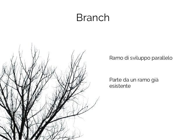 Branch Ramo di sviluppo parallelo Parte da un ramo già esistente