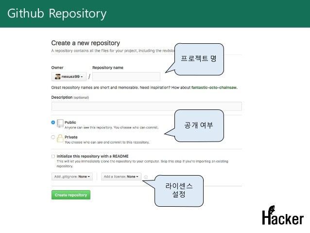 Github Repository 프로젝트 명 공개 여부 라이센스 설정
