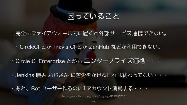 https://www.flickr.com/photos/cogdog/6129164570/ 困っていること • 完全にファイアウォール内に置くと外部サービス連携できない。 • CircleCI とか Travis CI とか ZenHub...