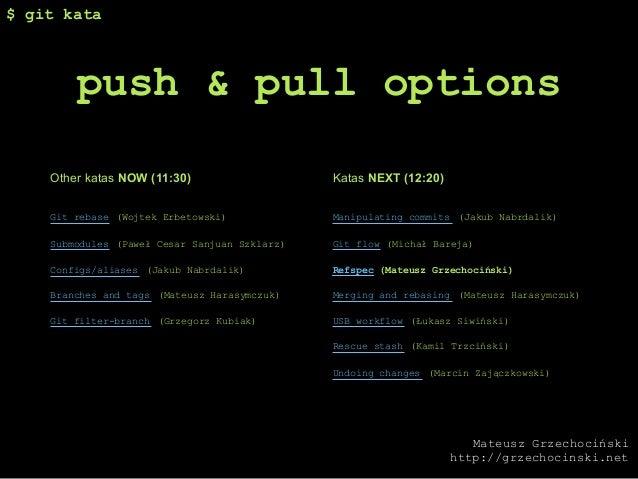 $ git kata        push & pull options    Other katas NOW (11:30)                    Katas NEXT (12:20)    Git rebase (Wojt...