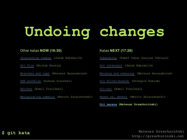 Undoing changes      Other katas NOW (16:30)                      Katas NEXT (17:20)      Interactive rebase (Jakub Nabrda...