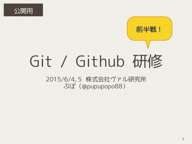 Git / Github 研修 2015/6/4,5 株式会社ヴァル研究所 ぷぽ(@pupupopo88) 前半戦! 1 公開用
