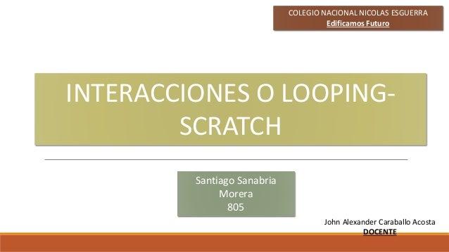 Santiago Sanabria Morera 805 COLEGIO NACIONAL NICOLAS ESGUERRA Edificamos Futuro INTERACCIONES O LOOPING- SCRATCH John Ale...
