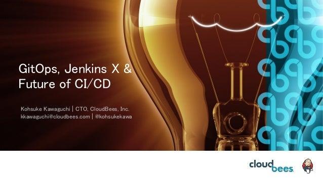 GitOps, Jenkins X & Future of CI/CD Kohsuke Kawaguchi   CTO, CloudBees, Inc. kkawaguchi@cloudbees.com   @kohsukekawa