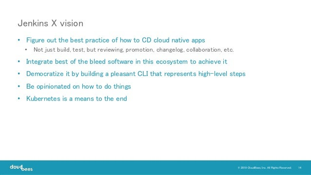 14© 2019 CloudBees, Inc. All Rights Reserved. • Figure out the best practice of how to CD cloud native apps • Not just bui...