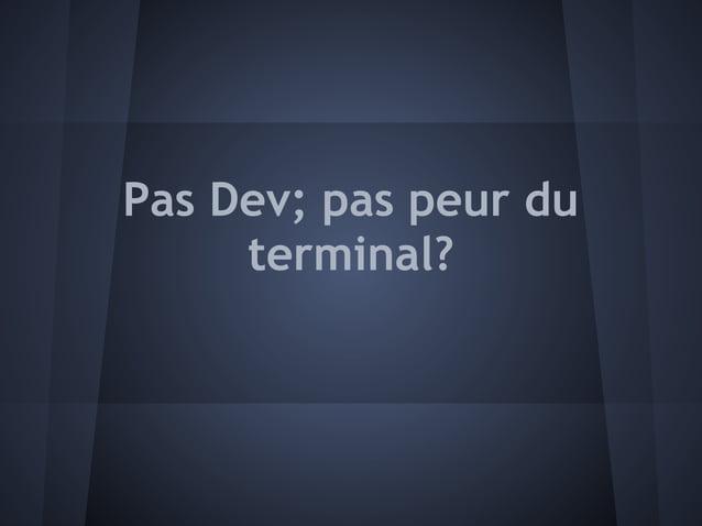 Pas Dev; pas peur du     terminal?