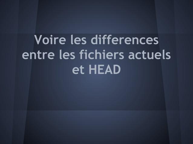 Voire les differencesentre les fichiers actuels         et HEAD