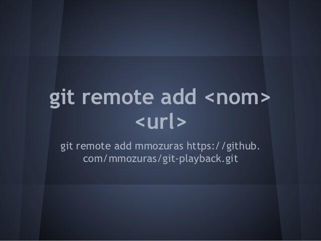 git remote add <nom>        <url>git remote add mmozuras https://github.     com/mmozuras/git-playback.git