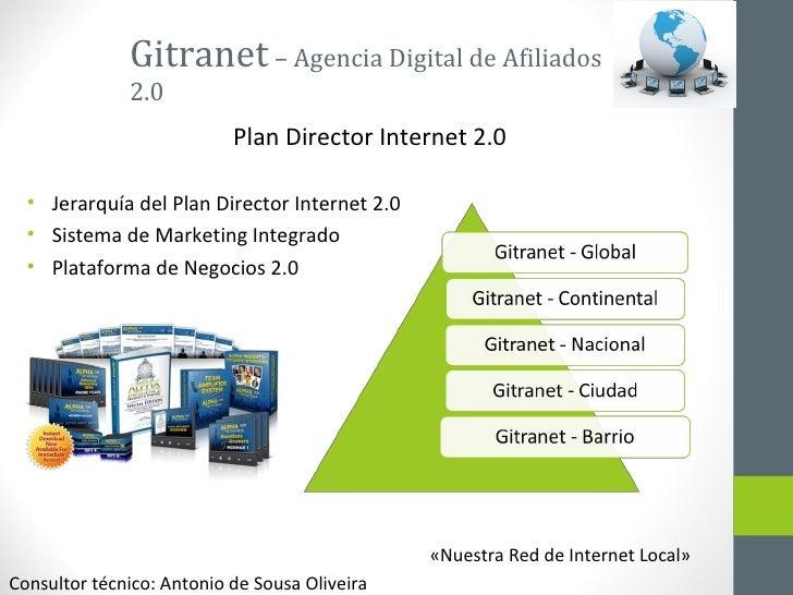 Gitranet  – Agencia Digital de Afiliados 2.0 <ul><li>Jerarquía del Plan Director Internet 2.0 </li></ul><ul><li>Sistema de...