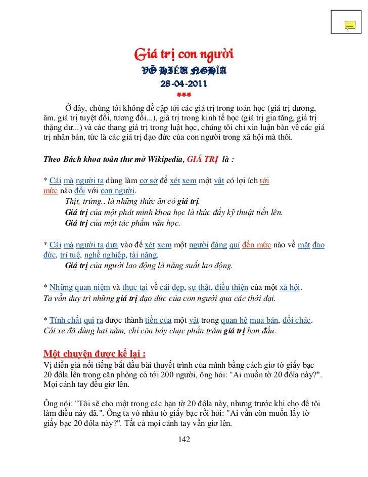 Giá trị con người                               VÕ HIẾU NGHĨA                                  28-04-2011                 ...