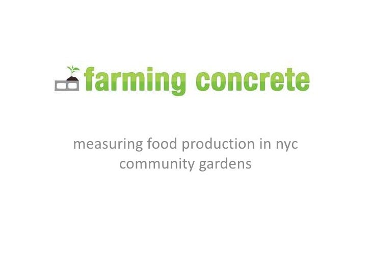 measuring food production in nyc community gardens<br />