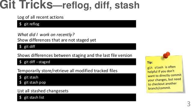 $ git stash $ git stash pop Temporarily store/retrieve all modified tracked files $ git stash list List all stashed change...