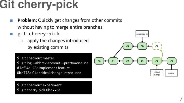 ■ Problem: Quickly get changes from other commits without having to merge entire branches ■ git cherry-pick □ apply the ch...