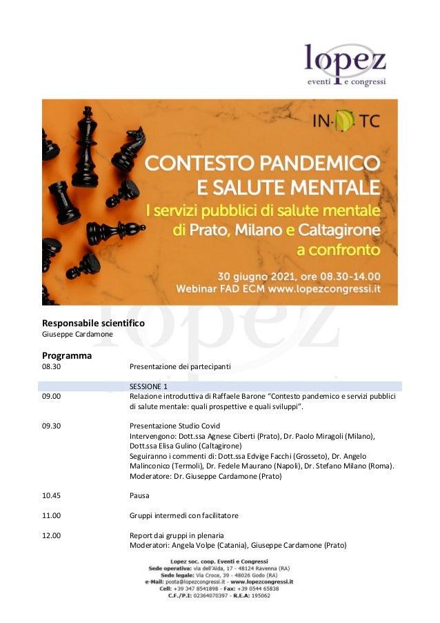 Responsabile scientifico Giuseppe Cardamone Programma 08.30 Presentazione dei partecipanti SESSIONE 1 09.00 Relazione intr...