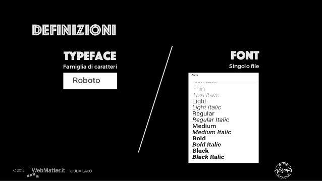Definizioni Typeface Font Famiglia di caratteri Singolo file