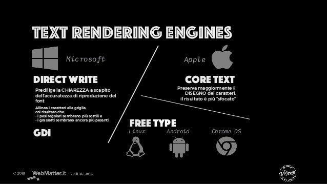 Text rendering engines Direct Write Core Text Microsoft Apple Allinea i caratteri alla griglia, col risultato che: - i pes...